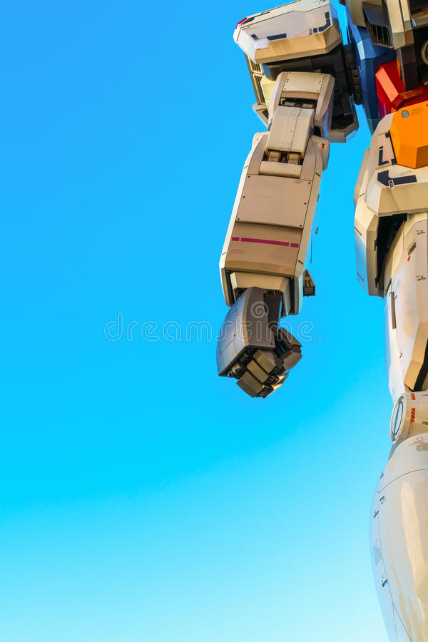 Full size Gundam Performances Outside DiverCity Tokyo Plaza, Odaiba, Tokyo, Japan - 27 November 2015: It is 18m tall The. Sculpture of famous anime franchise royalty free illustration