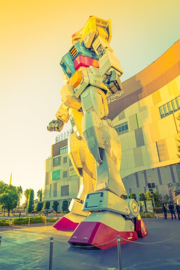 Full size Gundam Performances Outside DiverCity Tokyo Plaza, Odaiba, Tokyo, Japan - 27 November 2015: It is 18m tall The. Sculpture of famous anime franchise vector illustration