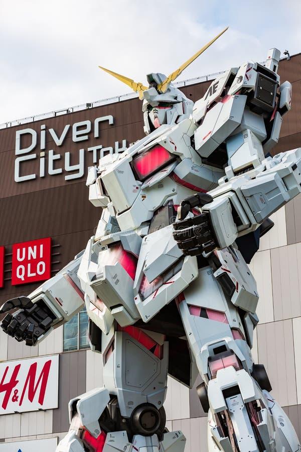 Full-size Mobile suit RX-0 Unicorn Gundam Performances at Diver City plaza Tokyo, Odaiba, Tokyo, Japan stock photo