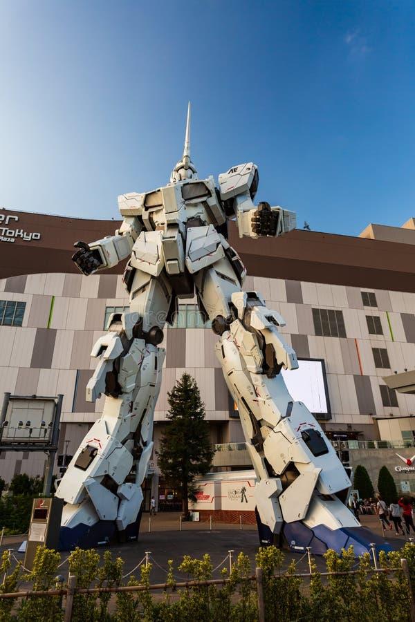 Full-size Mobile suit RX-0 Unicorn Gundam Performances at Diver City plaza Tokyo, Odaiba, Tokyo, Japan. Tokyo, Japan - October 18, 2018: Full-size Mobile suit RX royalty free stock images