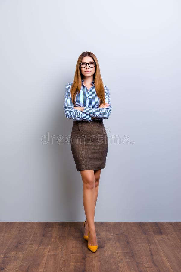 Full size photo of elegant business lady lawyer in strict outfit stock photo