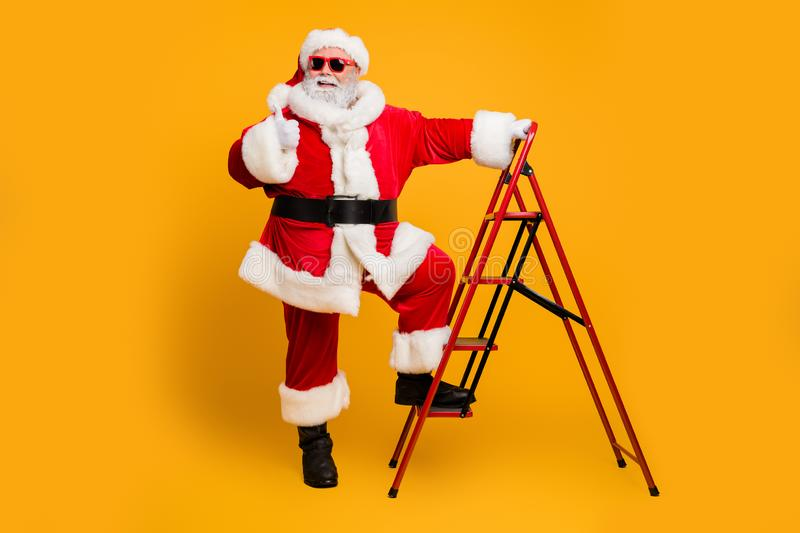 Full size photo of funky white beard hair santa claus in red hat climb ladder decorates christmas tree deliver wish royalty free stock photos
