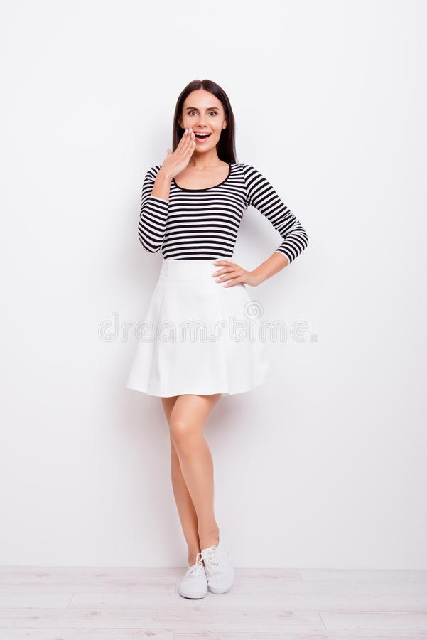 Full size portrait of cute playful girl. She is wearing casual c royalty free stock photos