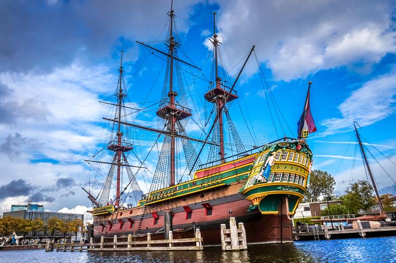 Full size replica of the 8th-century ship Amsterdam of the VOC, Dutch East India Company stock photo