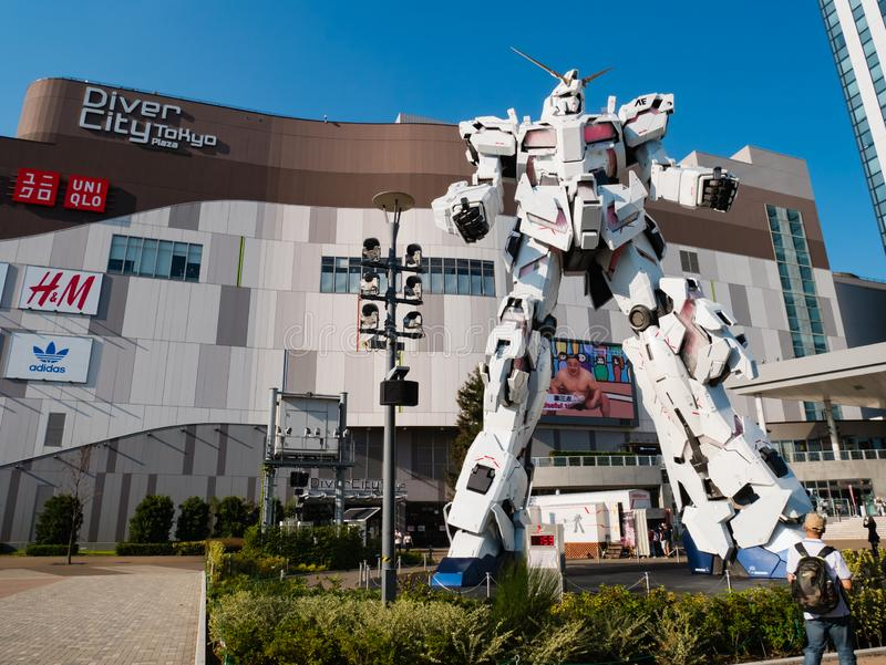 Full-size of RX-0 Unicorn Gundam at Diver City Tokyo Plaza in Od stock image