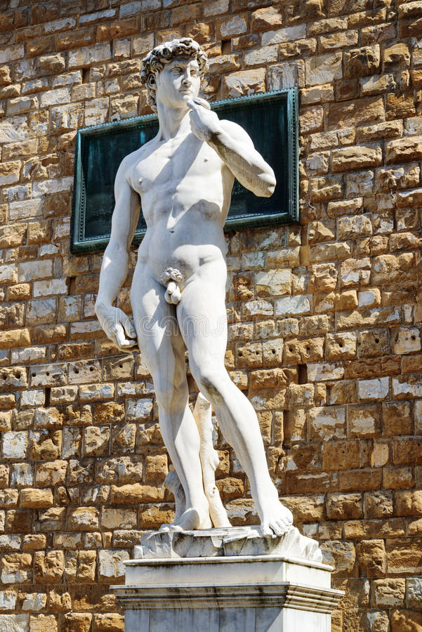Full-sized replica of the original statue of David in Florence stock photography