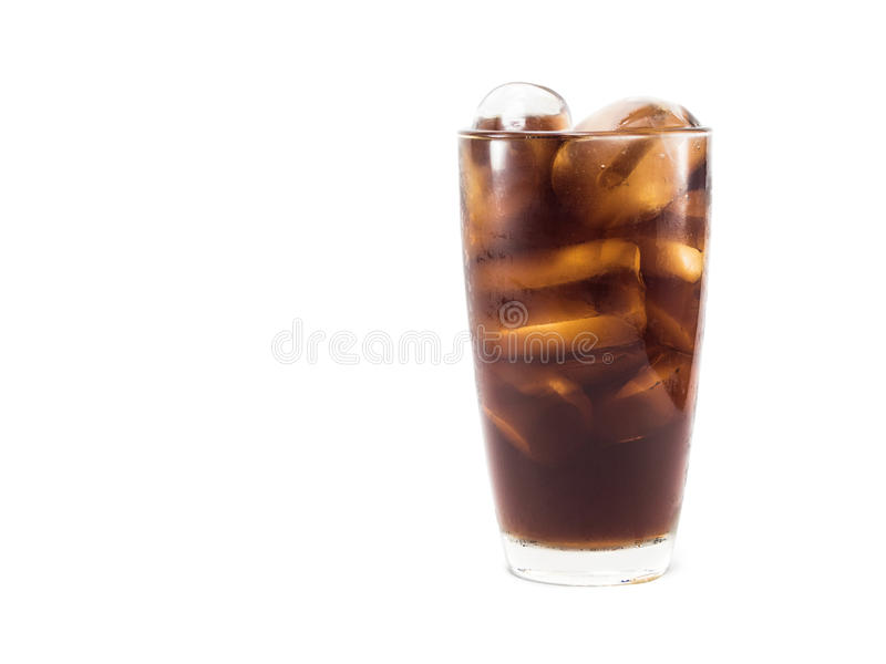 Full soft drink is cool and ice cubes in glass stock photo