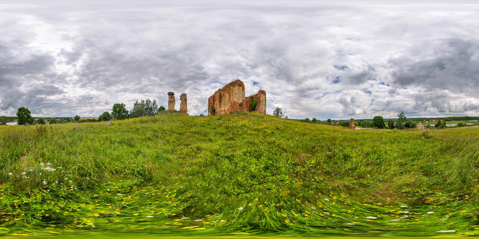 Full spherical 360 degrees seamless panorama in equirectangular equidistant projection, panorama near the ancient abandoned ruined. Church before the storm, VR royalty free stock photo