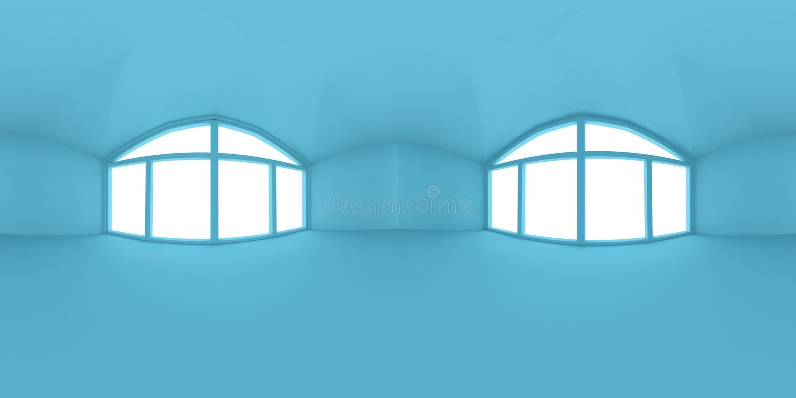 Full spherical 360 by 180 degrees seamless panorama in equirectangular equidistant projection, panorama in interior empty blue stock illustration