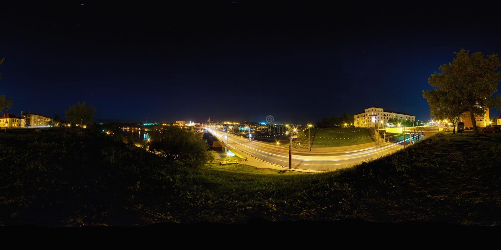 Full spherical 360 by 180 degrees seamless panorama in equirectangular equidistant projection, panorama of night park.  royalty free stock photos