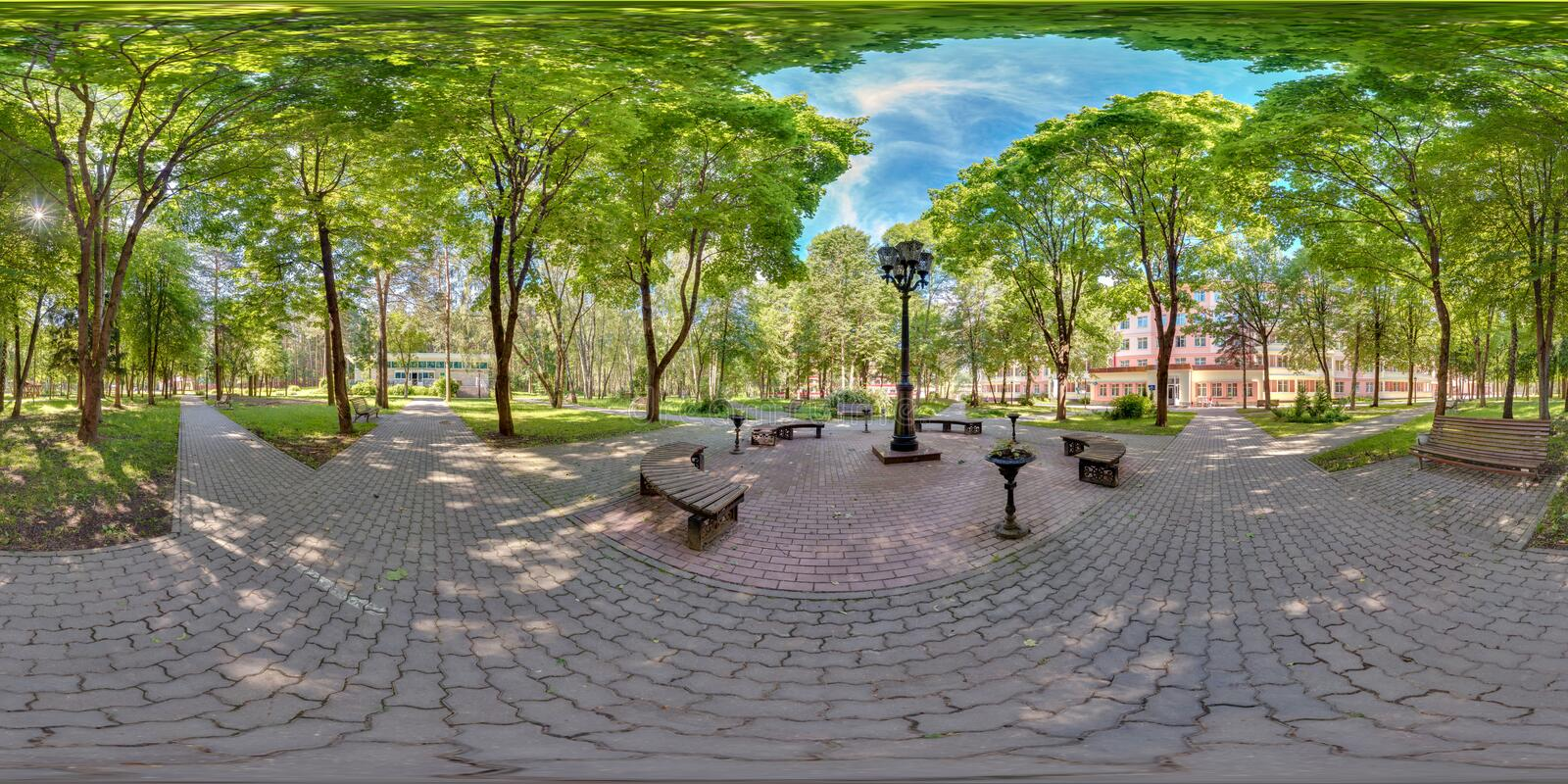 Full spherical 360 degrees seamless panorama in equirectangular equidistant projection, panorama in park green zone, VR content.  stock photo
