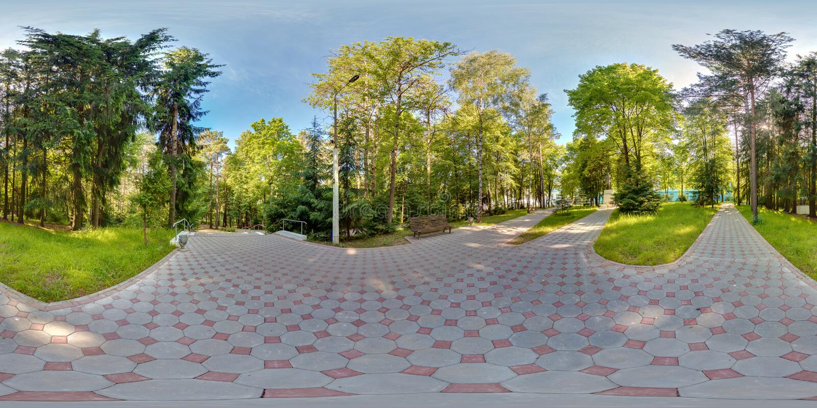 Full spherical 360 degrees seamless panorama in equirectangular equidistant projection, panorama in park green zone, VR content.  stock images