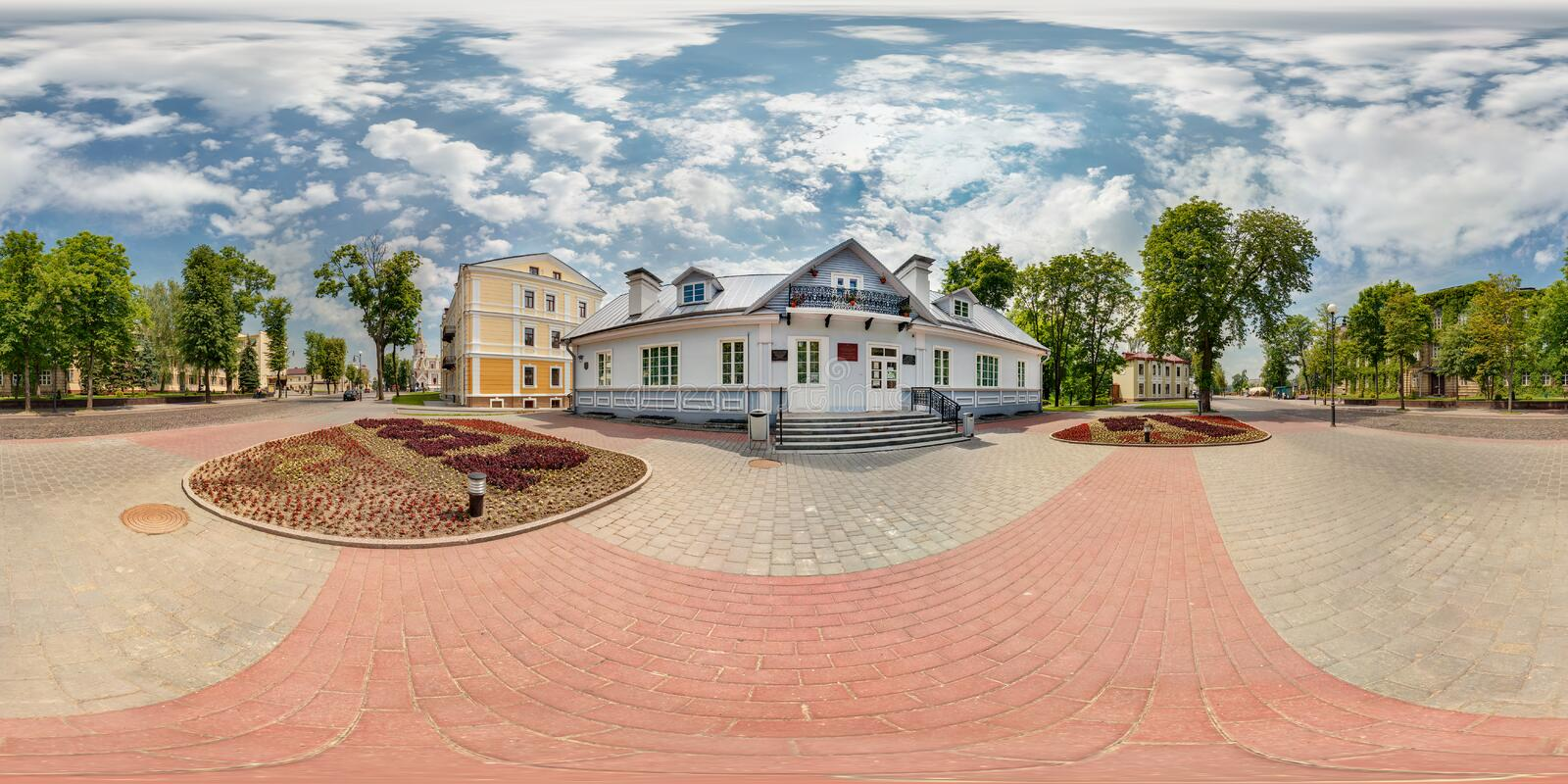 Full spherical 360 degrees seamless panorama in equirectangular equidistant projection, panorama in park of old city, VR content.  royalty free stock photos