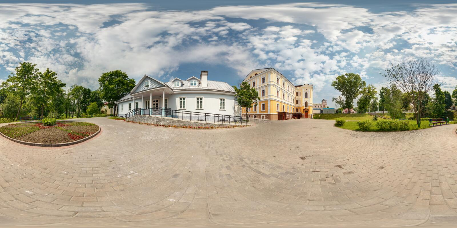 Full spherical 360 degrees seamless panorama in equirectangular equidistant projection, panorama in park of old city, VR content.  royalty free stock photo