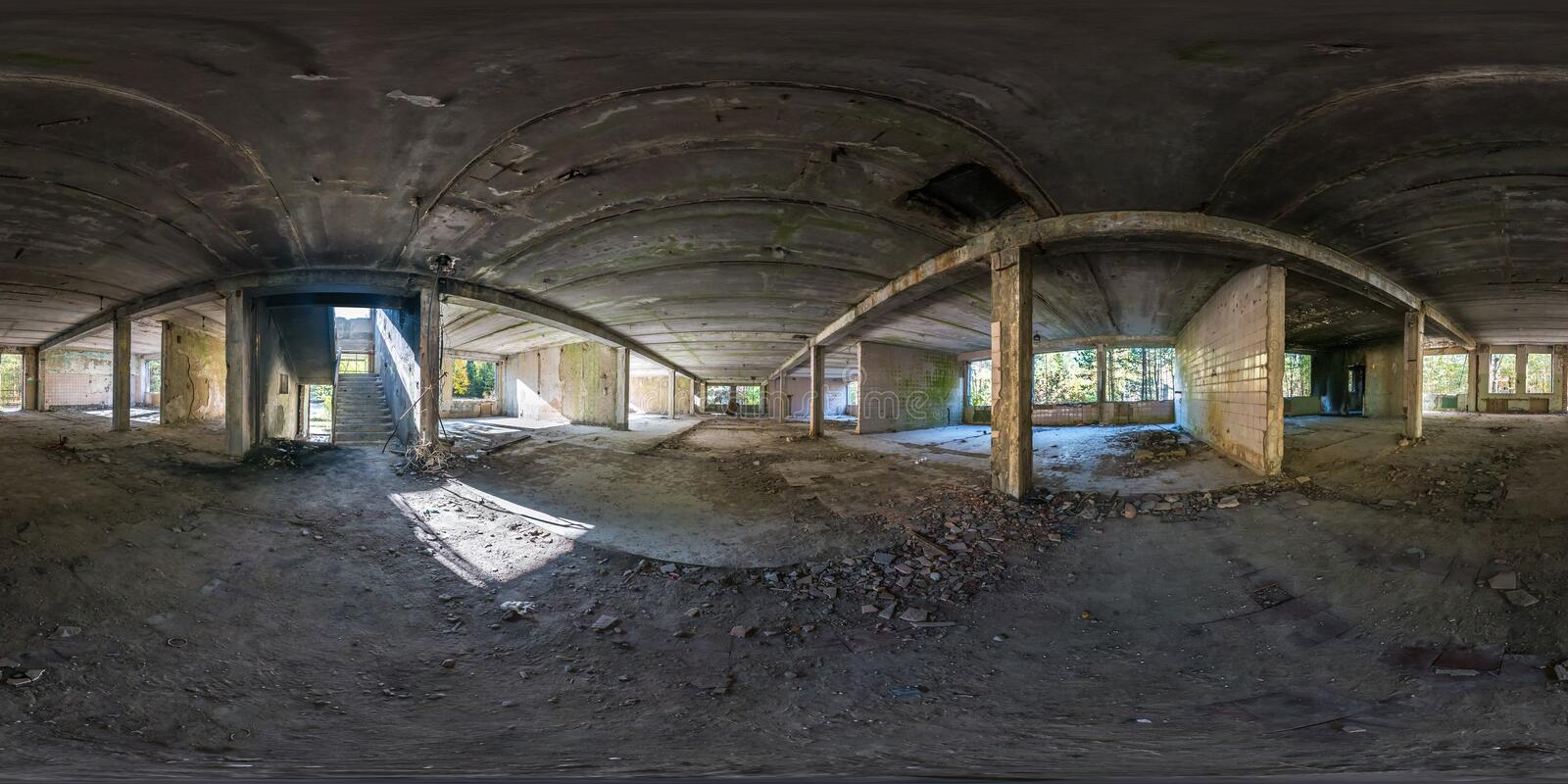 Full spherical seamless panorama 360 degrees angle view concrete structures abandoned unfinished building.  360 panorama in. Equirectangular equidistant royalty free stock photo