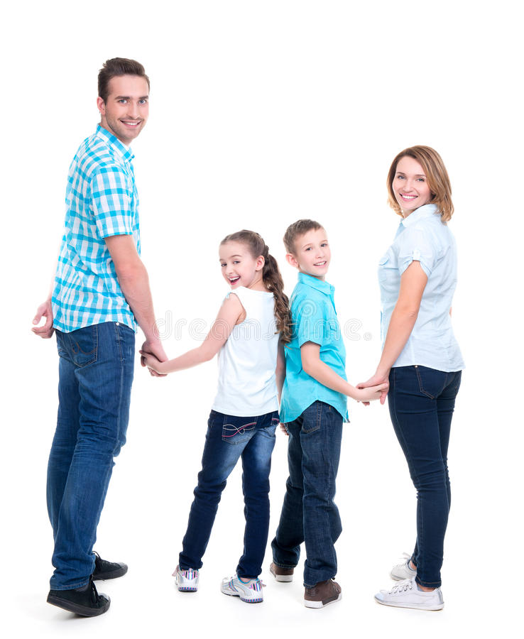 Full stående av den lyckliga europeiska familjen med barn arkivfoton