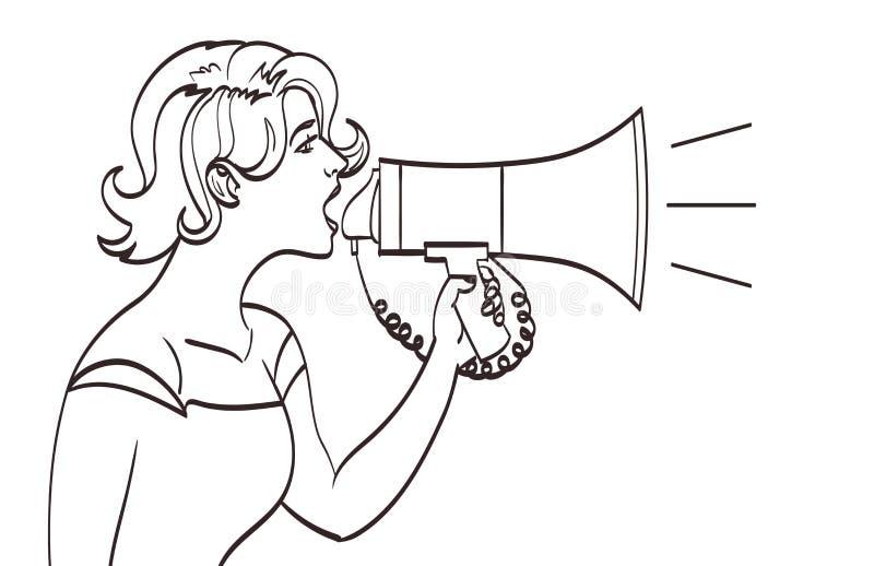 Full stående för vektor av en härlig kvinna som ropar med en megafon Lineart teckning, eps 10 royaltyfri illustrationer