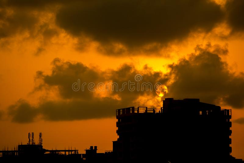 Full sun burn City on chaktai khal area of Chittagong, Bangladesh. Chaktai Khal called grief of Chittagong City. It is a most important part of Chittagong sea royalty free stock photo