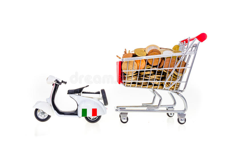 Full supermarket shopping cart pulled by scooter italy concept p royalty free stock image