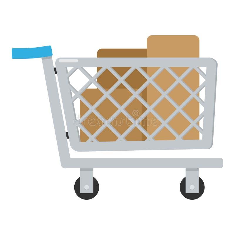 Full symbol för lägenhet för shoppingvagn på vit royaltyfri illustrationer