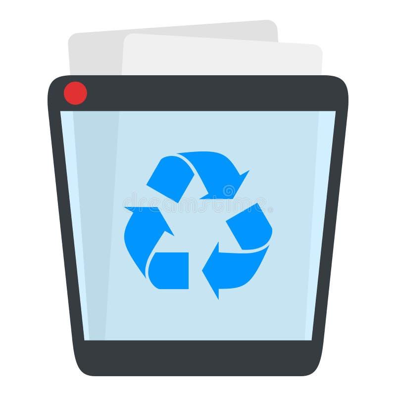 Full Trash Bin Flat Icon Isolated on White vector illustration