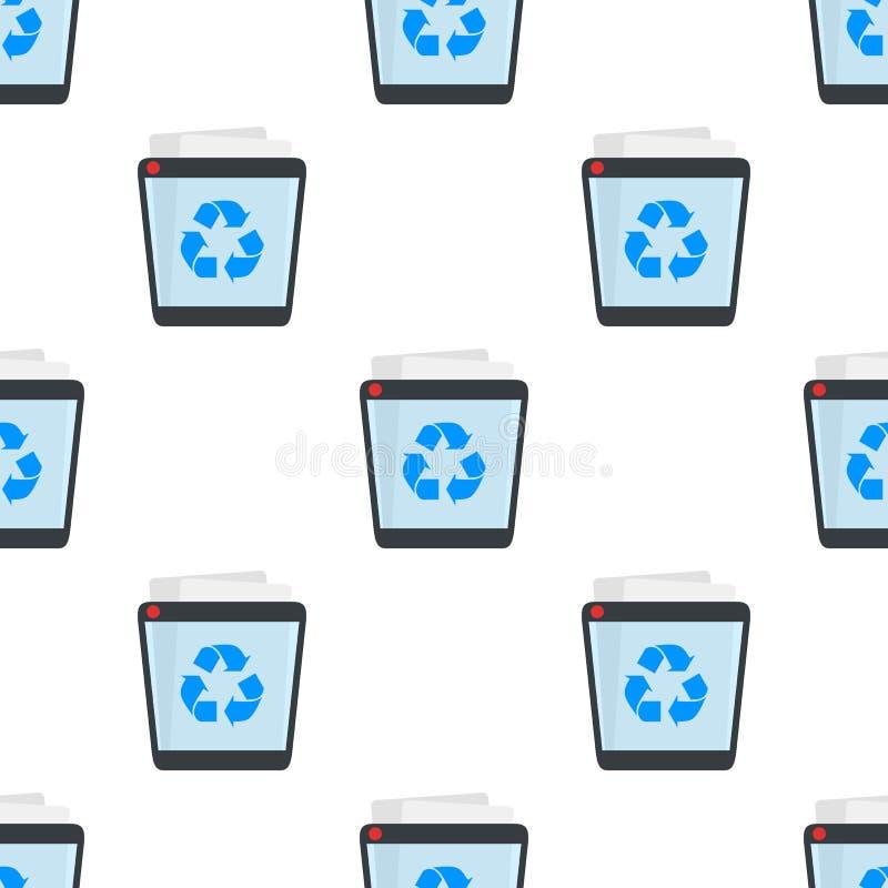 Full Trash Bin Flat Icon Seamless Pattern stock illustration