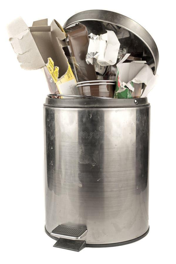 Full trash can stock photo