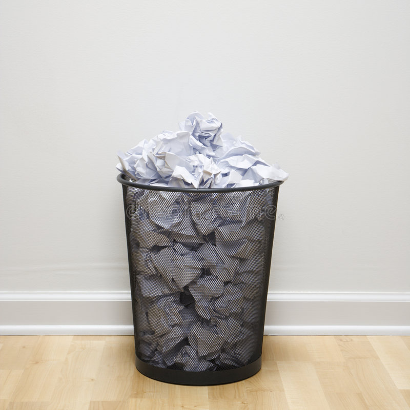 Full Trash Can. Royalty Free Stock Photos