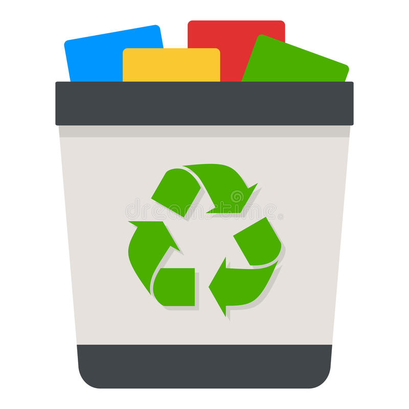 Full Trash Can Flat Icon Isolated on White royalty free illustration