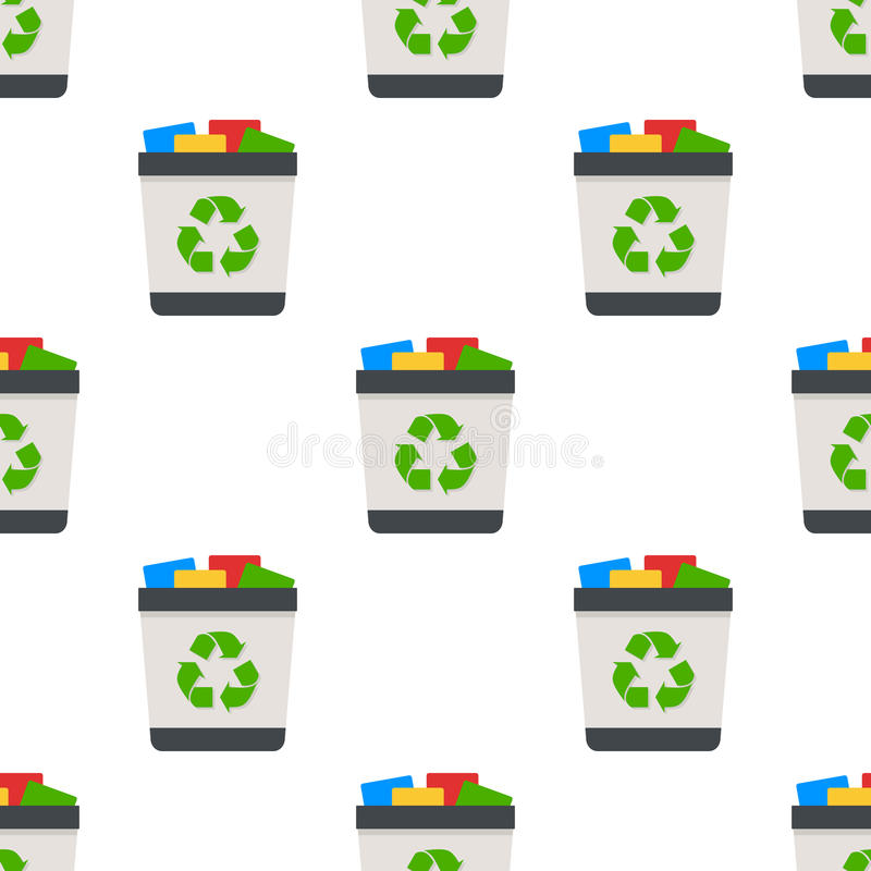 Full Trash Can Flat Icon Seamless Pattern royalty free illustration