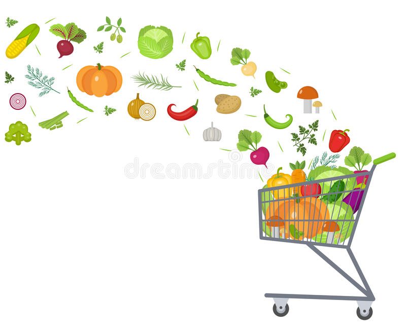 Full trolley, cart with fresh vegetables. Flat design. Banner, space for text, isolated on white background. Healthy royalty free illustration