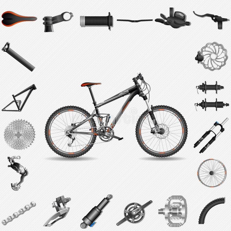 Full-upphängning mountainbike stock illustrationer