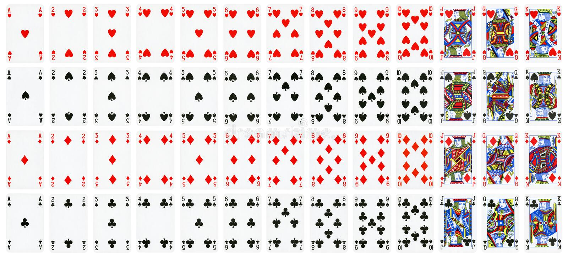 Full uppsättning av spela kort som isoleras på vit royaltyfri illustrationer