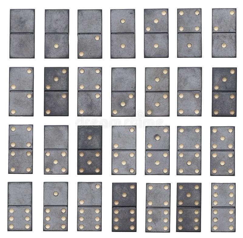 Full uppsättning för domino som isoleras på vit bakgrund fotografering för bildbyråer