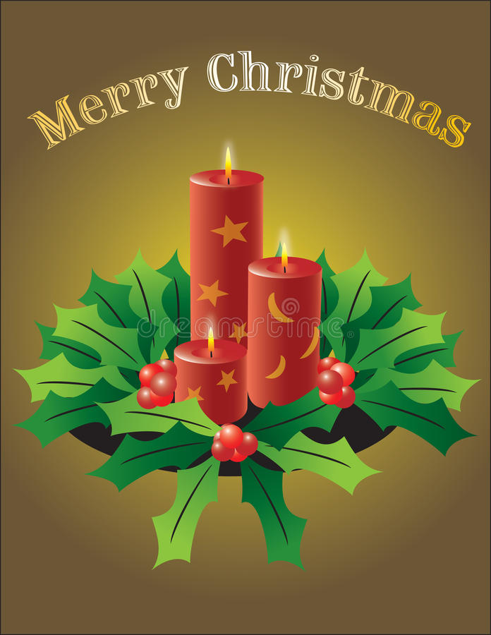 Full vector nice look Christmas candles. In a poinsettia branch, warm feeling vector illustration