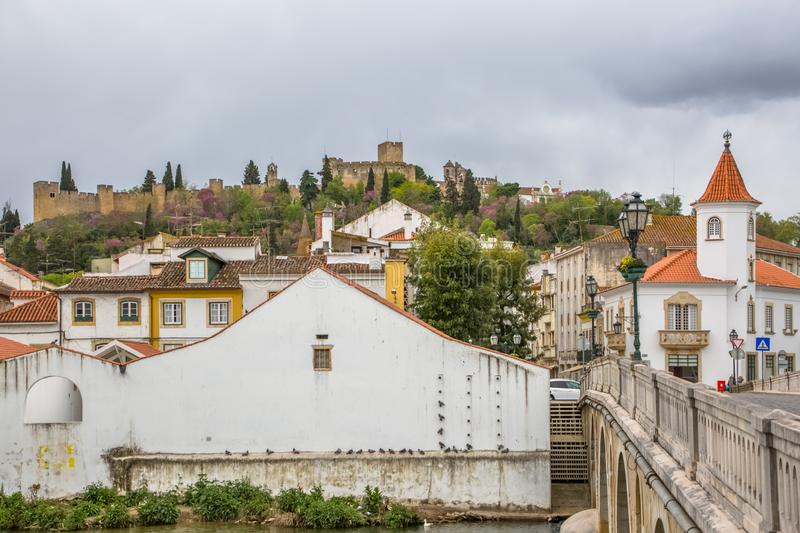 Full View at the Convent of Christ and Tomar city downtown, Roman Catholic convent in Tomar, originally Templar stronghold. Tomar / Portugal - 04 04 2019 : Full royalty free stock images