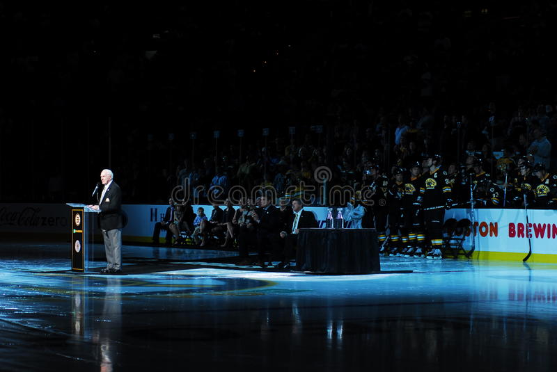 Full view of Milt Schmidt, Boston, MA, Oct 28th. View of the entire ceremony honoring Bruins great Milt Schmidt, includes the Bruins bench with the players stock photos