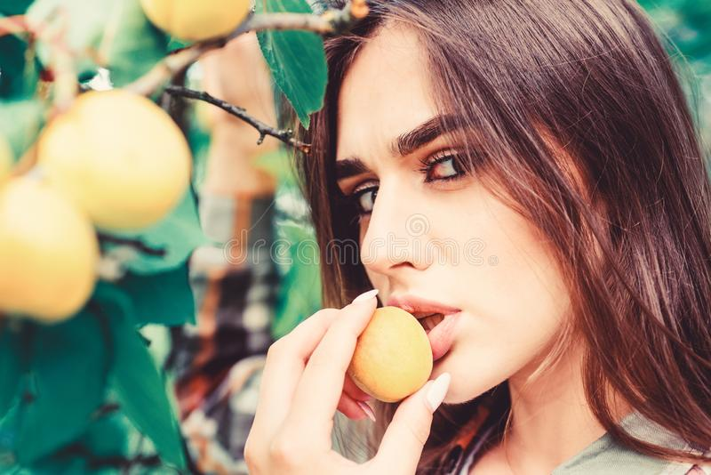 Full of vitamin. organic food and vitamin. fitness and dieting. healthy lifestyle. natural cosmetics. perfect skin. Fashion makeup. pretty beauty. juicy fruit stock photography