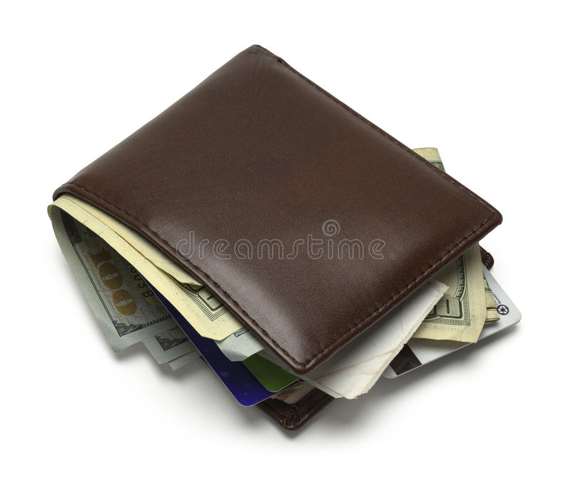 Full Wallet. Brown Wallet Full and Messy on White Background royalty free stock photo