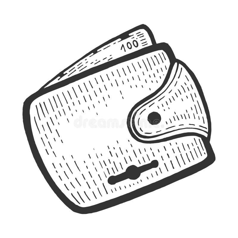 Full wallet with money sketch engraving vector vector illustration