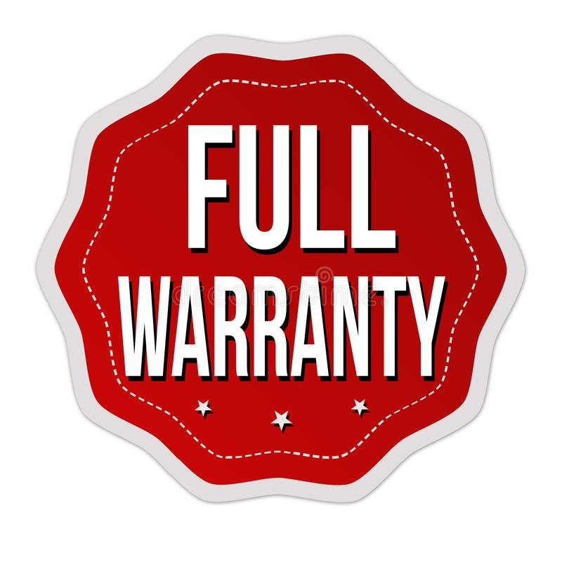 Full warranty label or sticker. On white background, vector illustration stock illustration