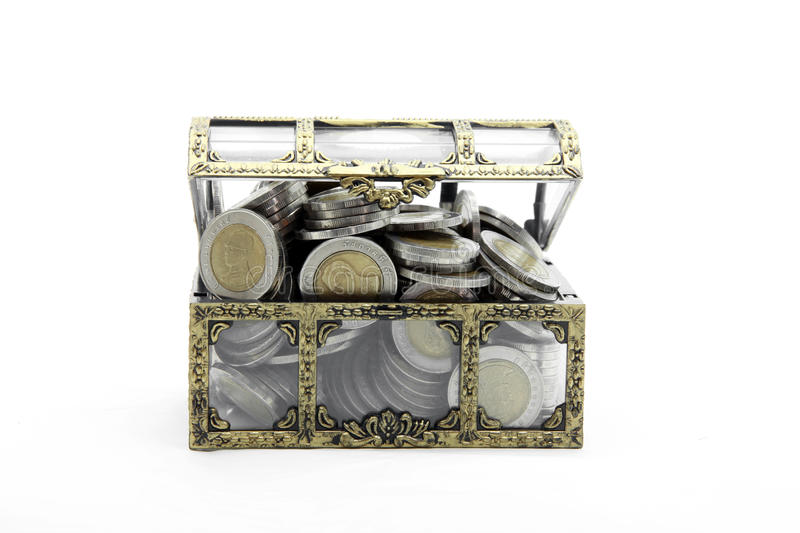 Download Full wealth coins chest stock photo. Image of booty, brown - 21799526