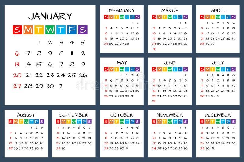 2019 fulla årskalender, söndag först, ungar utformar vektorn stock illustrationer