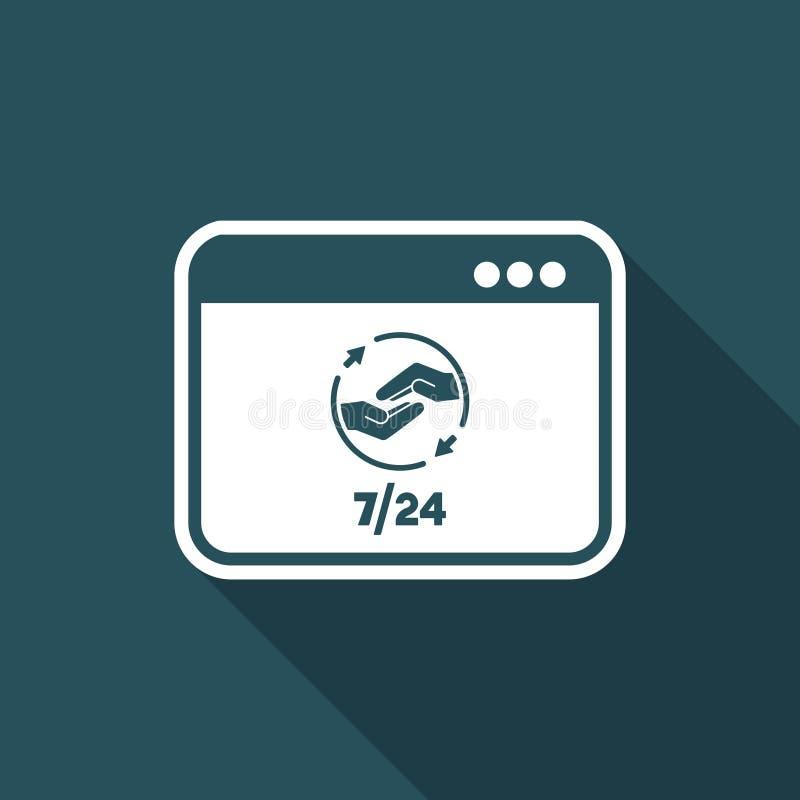 7/24 fulla hjälp för dator - plan symbol för vektor stock illustrationer