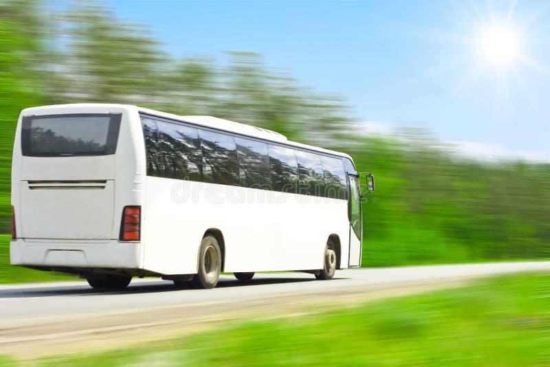 fulla lyckliga turister för blank buss arkivbilder