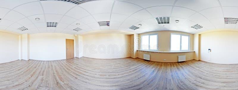 Fulla sfäriska 360 vid 180 grader sömlös panorama i equirectangular på lika avstånd projektion, panorama i inre tömmer rum in fotografering för bildbyråer