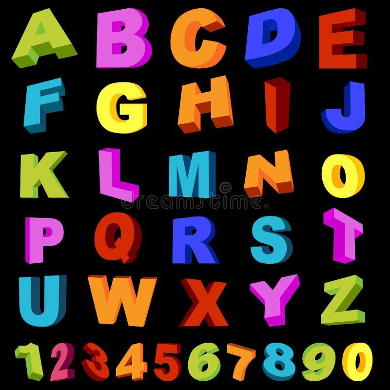fulla tal för alfabet royaltyfri illustrationer