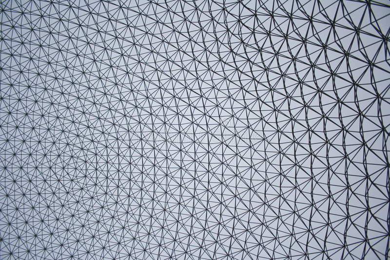fullare geodetisk linje s för buckminsterkupol arkivbilder