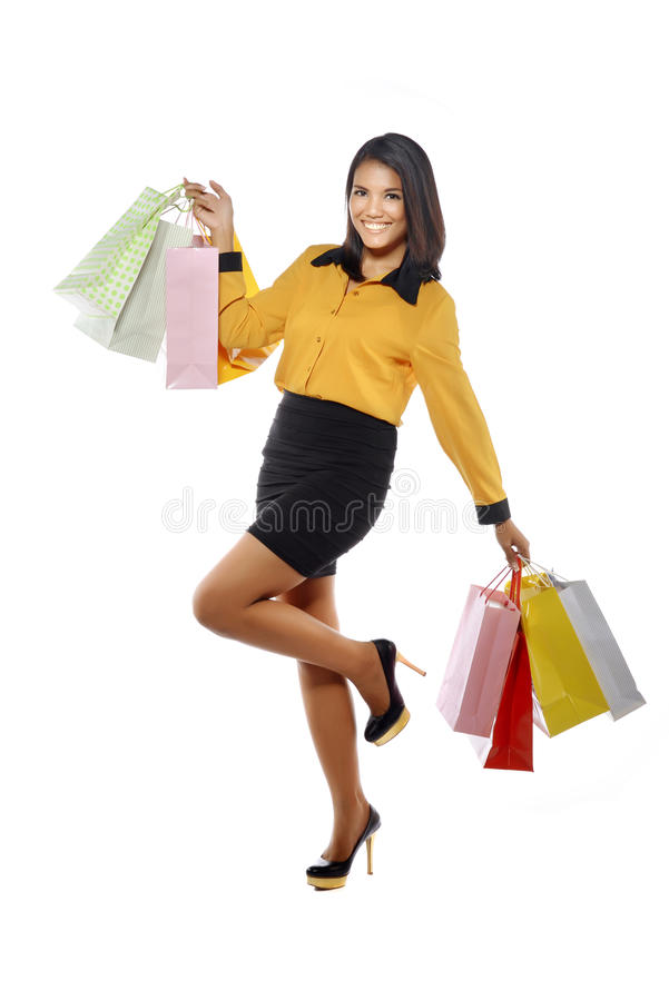 Download Fullbody Portrait Woman With Shopping Bags Stock Image - Image: 33179015