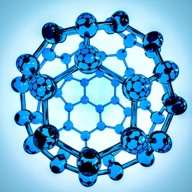 Fullerene composed of carbon atoms colored slightly in blue. Glass full fullerene on blue background royalty free illustration